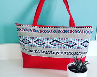 Large red ethnic Crossbody bag