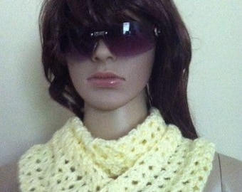 Beautiful yellow scarf. It can be worn in different ways, making it a desirable accessory for any woman.