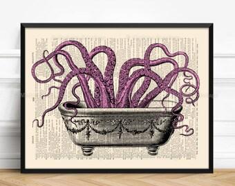 Tentacles Bathroom, Octopus Bathroom Art, Cute Girlfriend Gift, Octopus Print, Xmas Poster Gift, 6th Birthday Gift, Geekery Octopus, 512