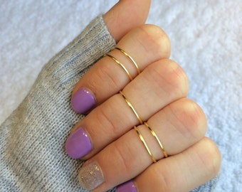 Gold Midi Rings Set - Set of 5 Gold Band Rings - Gold Knuckle Ring Set - Gold Stacking Ring Set - College Student Gift - midi ring midi ring