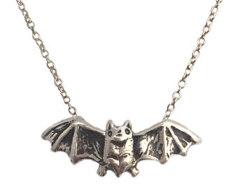Bat Necklace    silver gold jewelry