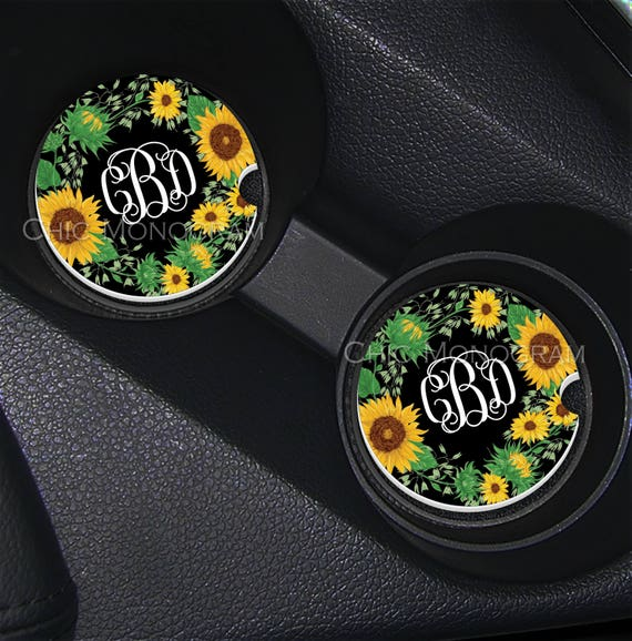 Sunflower Car Coasters Cup Holder Coasters Design Your Own Personalized Sandstone Coasters Monogrammed Car Accessories For Women Sunflowers
