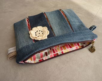 "Flat pouch ""to die"" recycled denim"