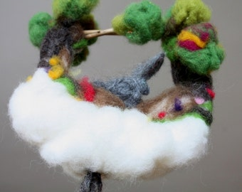 Needle felted mobile ornament with a Bunny and Carrots, Waldorf needle felted decoration for nursery, kids room, dream toy, felted playscape