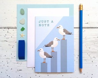 Seagull Card - Note Card - Just A Note Card - Animal Card - Sea Card - Bird Card - Seagull - Seagull Just A Note