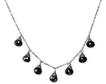 Black Spinel Oxidized Silver Necklace - Black Gemstone Necklace - Delicate Black Chain Black Spinel Necklace  Oxidized Silver Chain Necklace