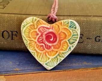 Ceramic Essential Oil Diffuser Rainbow Flower Heart  Necklace, Handmade Porcelain Aromatherapy Jewelry, Adjustable