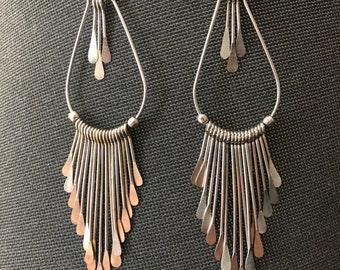 Boho Chic Silver Dangle Earrings