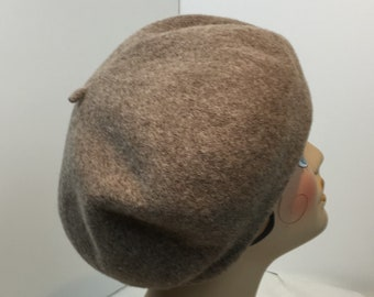 Woman's Wool Beret Hand Blocked 1930's Garbo Look Heather Brown