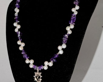 Scottish Luckenbooth necklace, real amethyst and freshwater pearls, Sterling silver. Made in Scotland