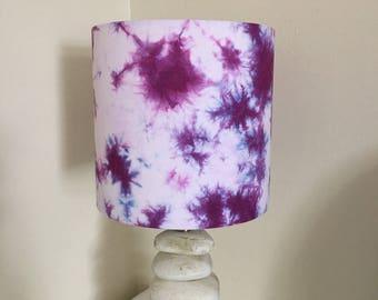 "Purple shibori 8""x20cm lampshade"