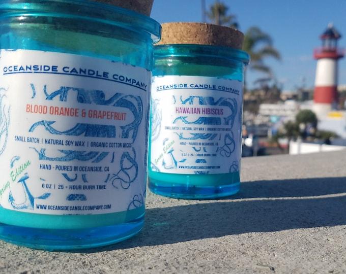 Blood Orange & Grapefruit - 6 oz Blue Glass Jar - Soy Candle