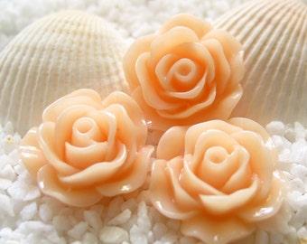 Resin Flower Cabochon - 19mm - 12 pcs - Pale Peach