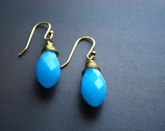 Sky Blue Earrings -- Sky Blue Crystals, Gold Wire Wrapped, Gold