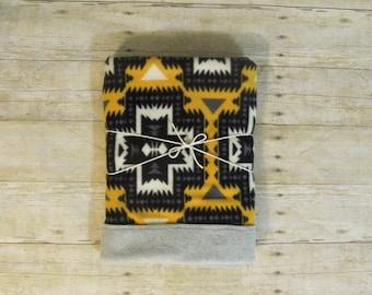 Rustic/Modern Baby Blanket Fleece | Mustard | Black | Cream |Cabin LODGE