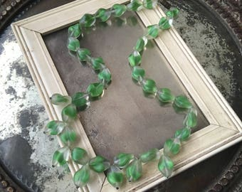 You Might Get The Luck Of The Irish With This Vintage Green Glass  Beaded Necklace