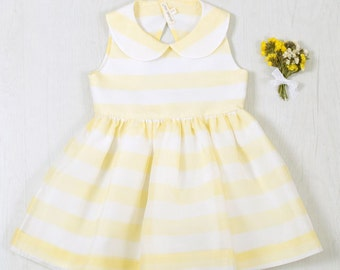 Girls Boutique Dress, Summer, Easter, Party dress, Classic style, Peter Pan collar, Sizes 3T and 4T