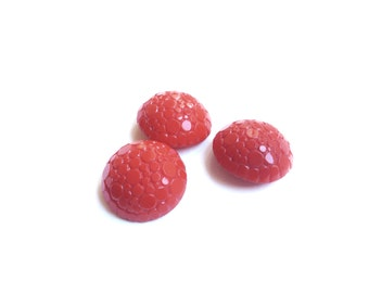 3 Red Glass Buttons, Vintage Buttons, French Antique Buttons