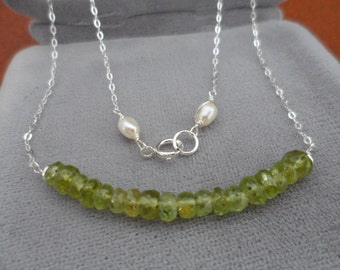 Lovely Peridot Bar Necklace - Gift for Her, Birthday Gift, August Birthstone, Delicate Gemstone Necklace