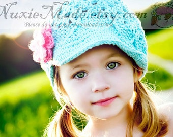 Newsboy Hat 2T-4T / Kids Hat / Girl Crochet Hat / Winter Hat / Crochet Newsboy Hat / Blue Hat / Turquoise Hat / Childrens Hat / Toddler Hat