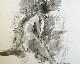 """Original Pen and Ink drawing with watercolor wash """"Smoke"""""""