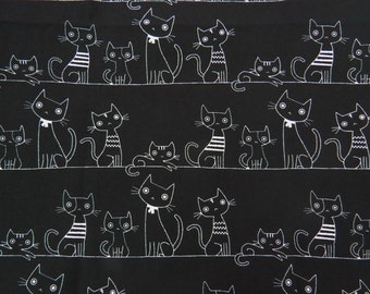 2509A - Full Yard Sale -- Lovely Cats Line in Black, Cute Animal, Cats Line, Kawaii Cats, Kawaii Animal