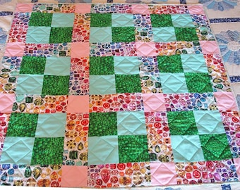 Lap Quilt - Bejeweled - Jewel Quilt, Mother's Day Gift, Gift For Teen, 9 Patch Quilt