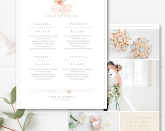"8.5x11"" Wedding Pricing Template, Photography Pricing Guide, Price List, Digital Design Files, Photography Template - INSTANT DOWNLOAD"