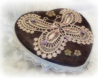 Valentine Heart Shaped Box, Brugandy, Custom Design, Decorated Treasure Box, Embellished Keepsake Box, Jewelry Box, Hand Decorated