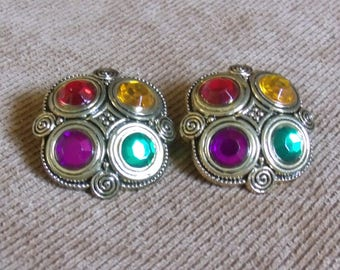 HJE-0051-P, Colorful Buttons Earrings
