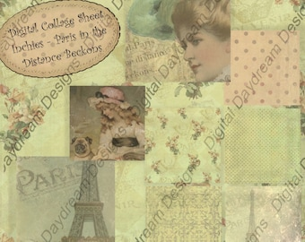 Instant Download Digital Printable Collage Sheet 1 x 1 Inchies size - Paris in the Distance Beckons