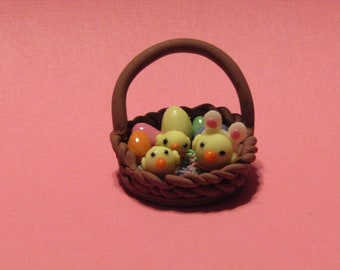 Baby chicks in a basket
