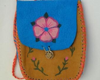 Wild Rose Medicine Bag, Suede Pouch, Small Purse