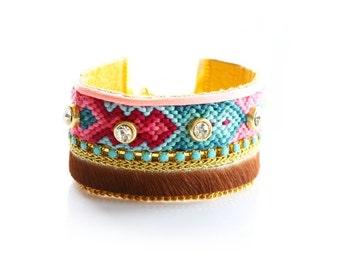 Friendship Cuff,Friendship Bracelet,Swarovski,Hair On,Crystal,Studded Jewelry,Cuff,bohemian,tribal,aztec,navajo style,gift for her, holiday