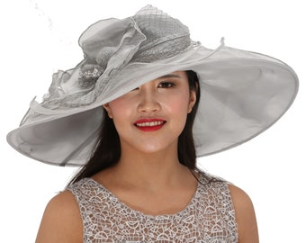 """New Kentucky Derby, Church, Wedding, Tea Party with Two Big Flower 4 Layers 7"""" Wide Brim Organza Hat(Gray/silver)"""