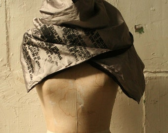 Gray silk text scarf Spring fashion accessories printed scarves