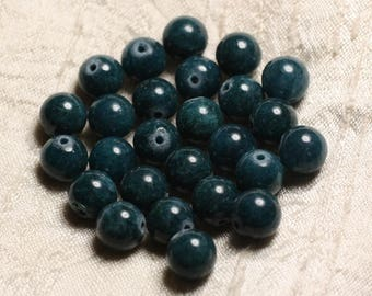 10pc - stone beads - Jade balls 10mm blue green Peacock 4558550005373