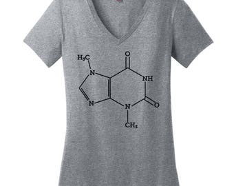 Chocolate Lovers V Neck Tee Womens Shirt Nerdy Shirt Science Teacher Gift Chemical Structure Shirt Chemistry Chocolate Molecule Shirt