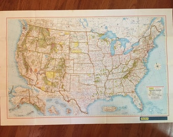 Vintage Paper Map | U.S. National Parks Recreational Map | Rand McNally | LARGE