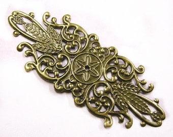 6pc antique bronze metal filigree wraps-4074