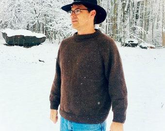 Wool Sweater - custom hand knit gray, blue, black, green, brown