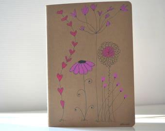 painted notebook, notebook stylized flowers romantic, feminine notebook