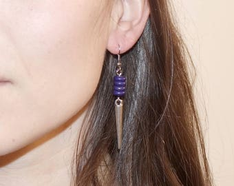 """Purple Spear"" earrings"