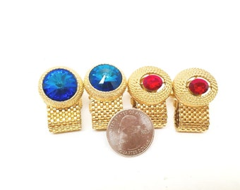 Vintage Fathers Day Rivoli Rhinestone Gold Metal Mesh Cuff Unisex Lot 2 Modern Intense Jewel Tones  High End