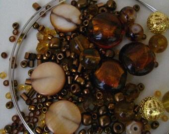 KIT miel brun et or jaune Bracelet Wrap perles sur fil mémoire KIT
