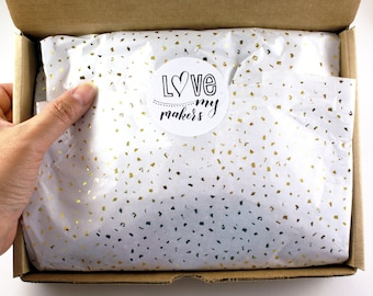 24 sheets of Tissue Paper -  Metallic Gold Confetti flecks on White - 15 x 20 inch tissue for Packaging and Christmas gifts