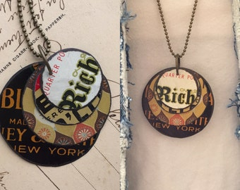 """Tin Jewelry Layered Disc Necklace """"Rich"""" Tin for the Ten Year Tenth Wedding Anniversary"""