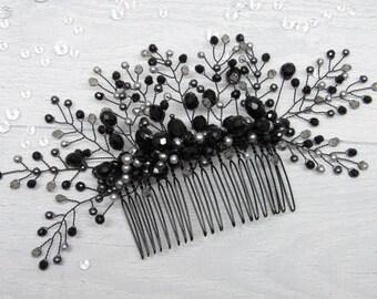 Cystal hair vine Black pearl comb Crystal bridal comb pearl Gothic hair piece Bridesmaid hair vines silver Wedding bride combs vine crystal