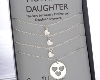 Mother Daughter Necklace Mother Daughter Gift for Mom Gift Heart Necklace Sister Necklace Mother of the Bride Bridesmaid Gift Mom Necklace