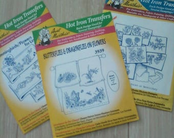 Aunt Martha's Hot Iron Transfers, Hummingbirds, Butterflies & Draonflies on Flowers, and Flowers